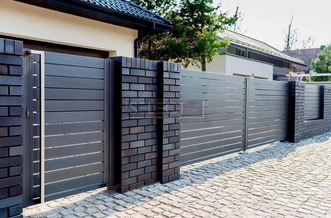 Калитки и раздвижные уличные ворота - решетчатые ограждения металлические - изготовление Завод Селект серия Лайн