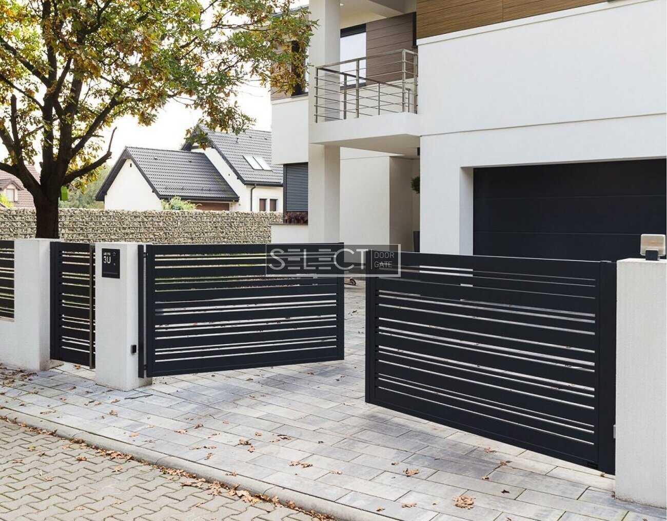 Распашные ворота с калиткой - уличные металлические въездные ограждения селект