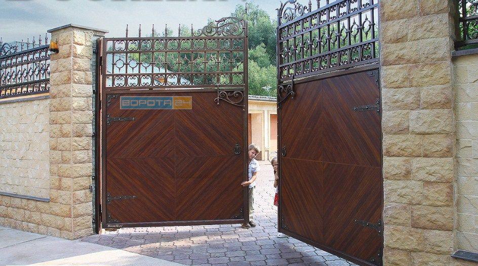 распашные уличные ворота под ключ -киев