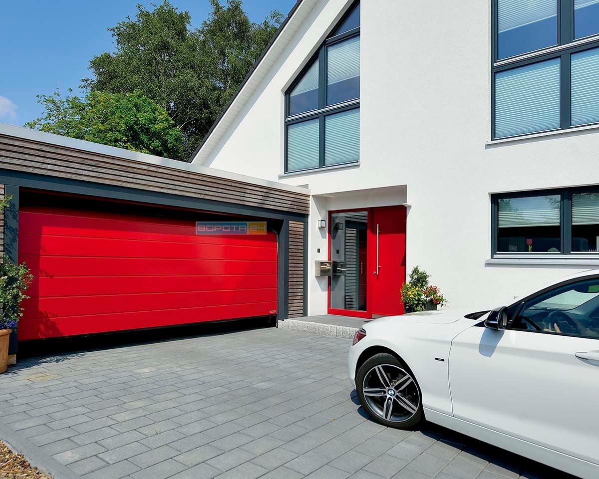 единая стилистическая линия - гаражные ворота - алюминиевые двери